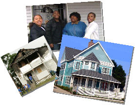 Gloria Brown and her family are shown with before and after photos of this episode of Extreme Makeover Home Edition.